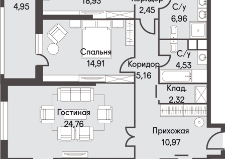 Продаётся 3-комнатная квартира, 131.31 м²