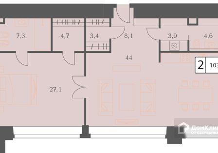 Продаётся 2-комнатная квартира, 103.1 м²