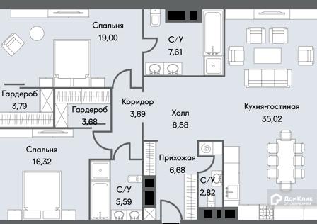 Продаётся 3-комнатная квартира, 112.78 м²