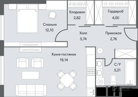 Продаётся 2-комнатная квартира, 51.91 м²
