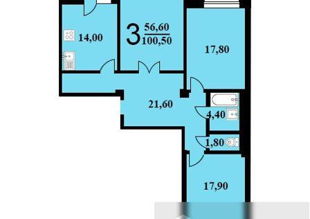 Продаётся 3-комнатная квартира, 100.5 м²