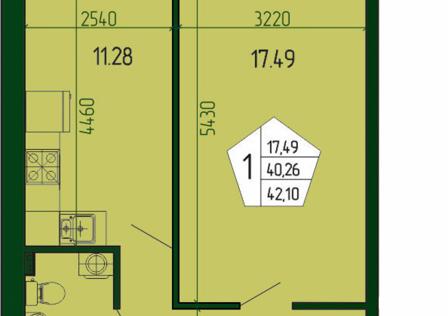 Продаётся 1-комнатная квартира, 42.03 м²