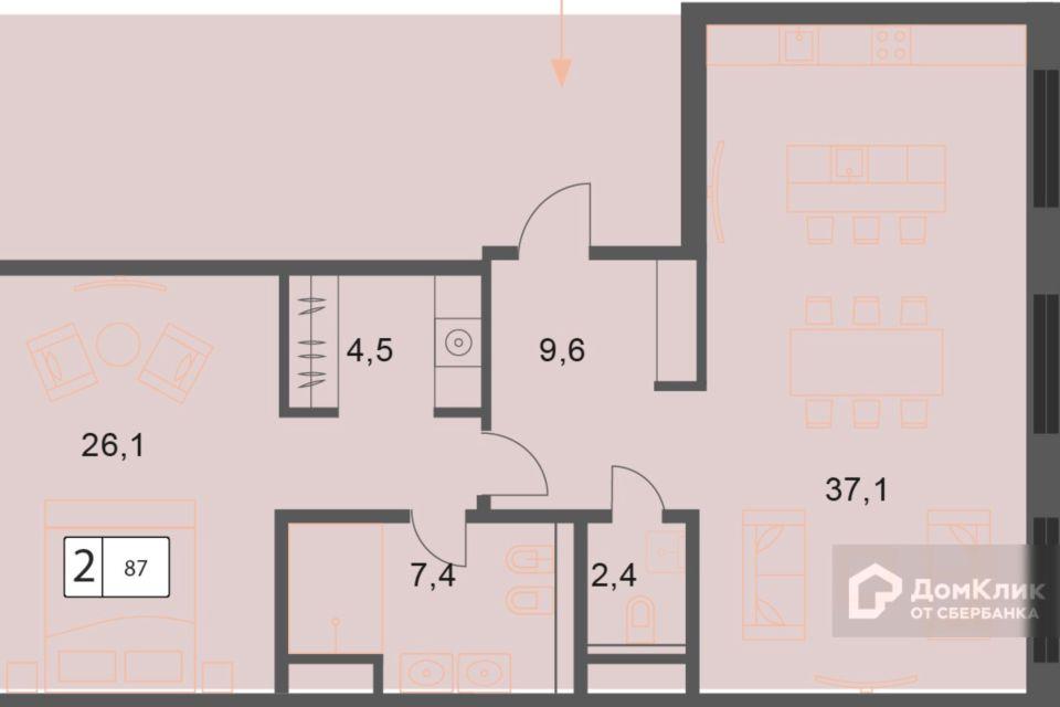 Продаётся 2-комнатная квартира, 86.9 м²