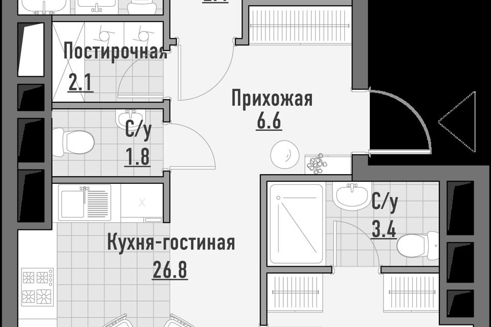 Продаётся 3-комнатная квартира, 96 м²