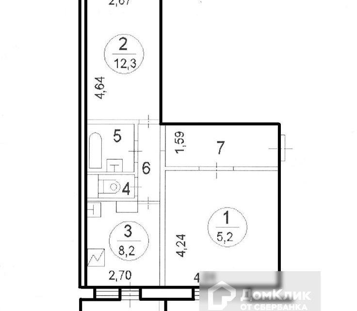 Продаётся 2-комнатная квартира, 50.3 м²