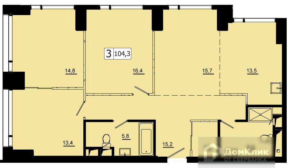 Продаётся 3-комнатная квартира, 104.3 м²
