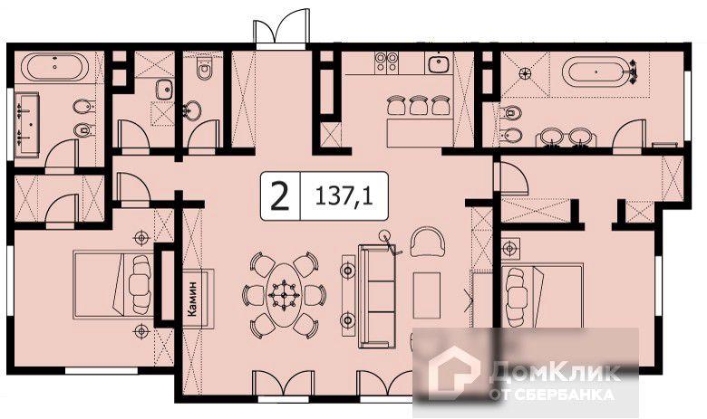 Продаётся 2-комнатная квартира, 137.1 м²