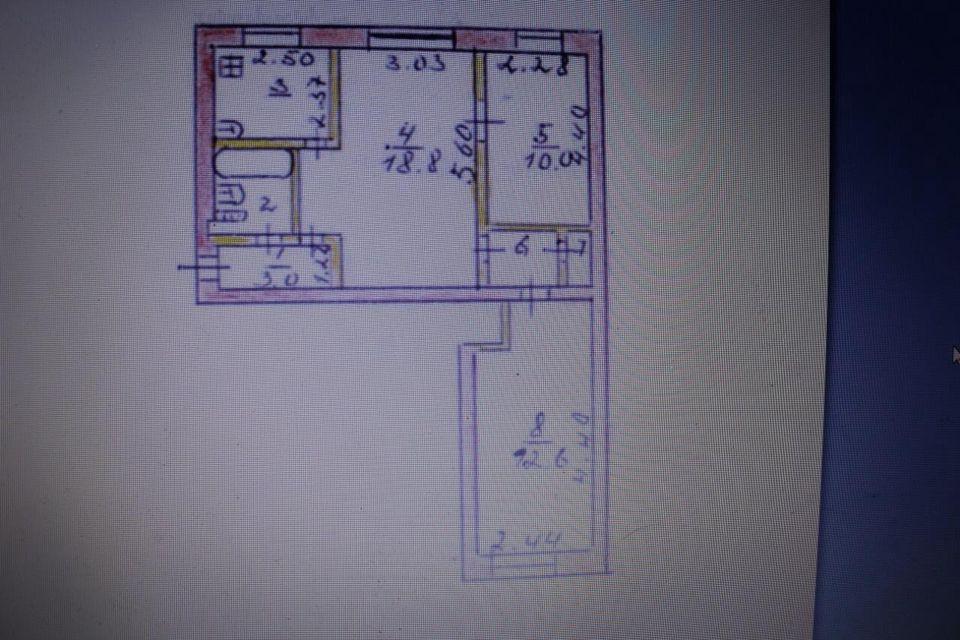 Продаётся 3-комнатная квартира, 54.9 м²